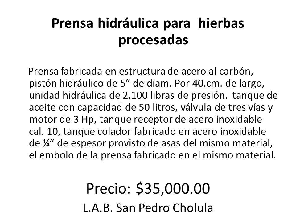 Prensa hidráulica para hierbas procesadas