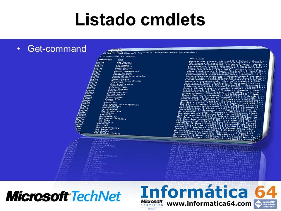 Listado cmdlets Get-command