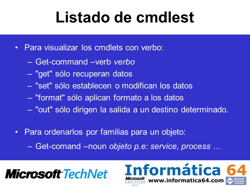 Listado de cmdlest Para visualizar los cmdlets con verbo: