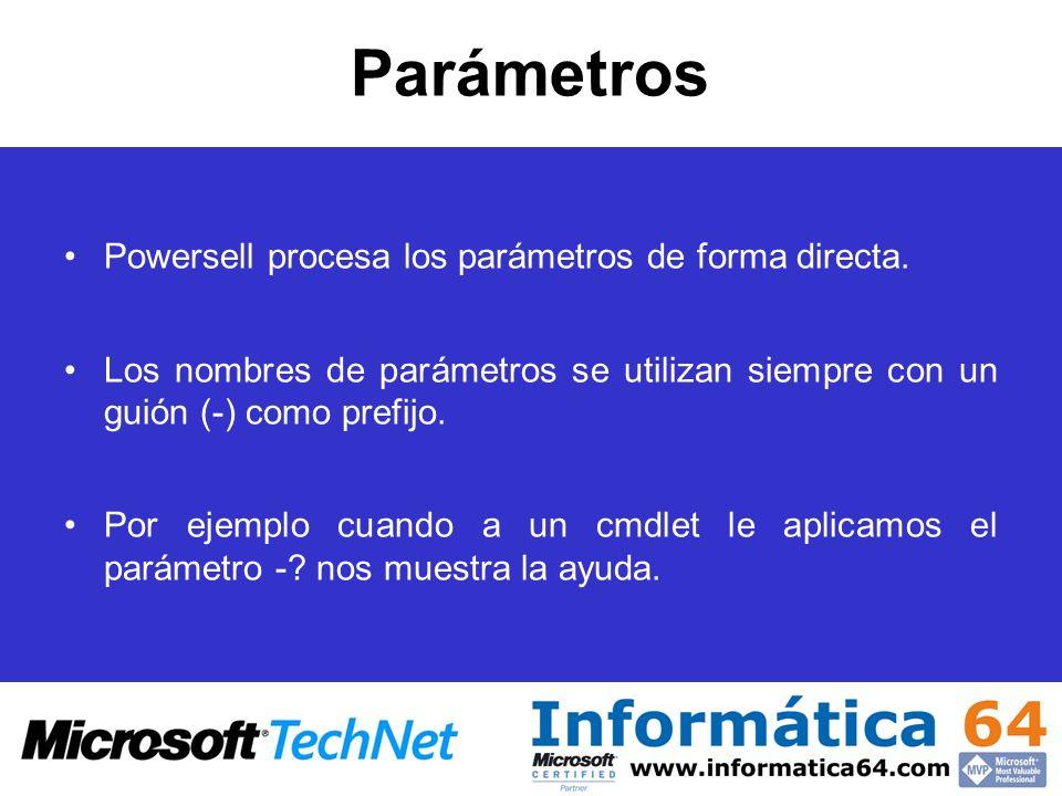 Parámetros Powersell procesa los parámetros de forma directa.