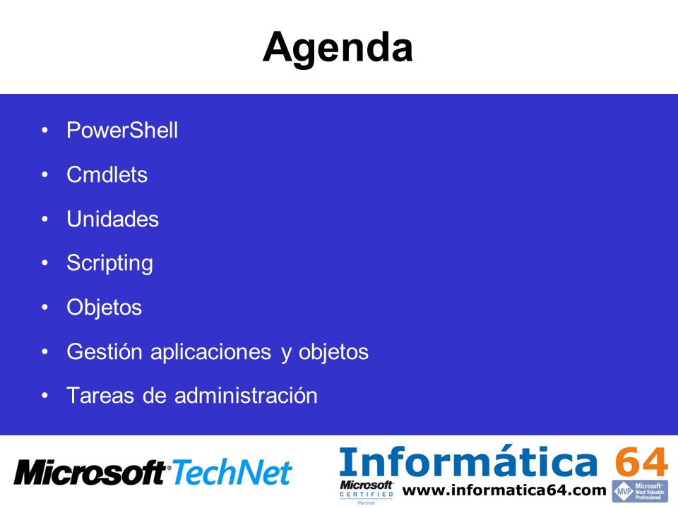 Agenda PowerShell Cmdlets Unidades Scripting Objetos