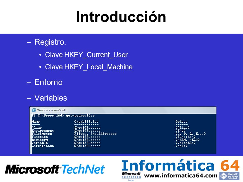 Introducción Registro. Entorno Variables Clave HKEY_Current_User