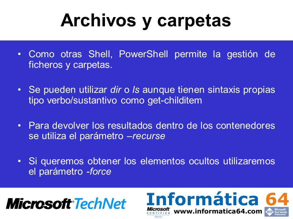 Archivos y carpetas Como otras Shell, PowerShell permite la gestión de ficheros y carpetas.