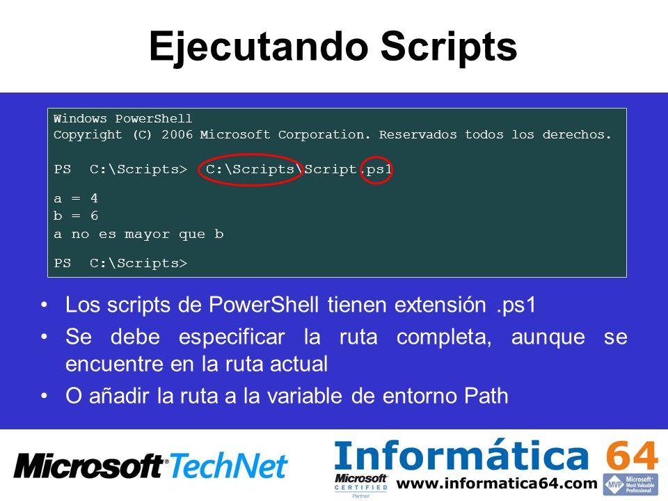 Ejecutando Scripts Los scripts de PowerShell tienen extensión .ps1
