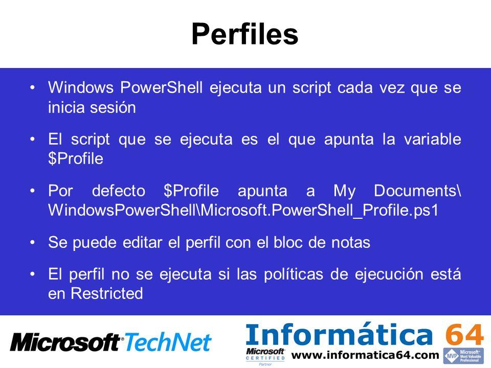 Perfiles Windows PowerShell ejecuta un script cada vez que se inicia sesión. El script que se ejecuta es el que apunta la variable $Profile.