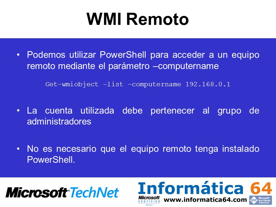 Get-wmiobject –list –computername 192.168.0.1