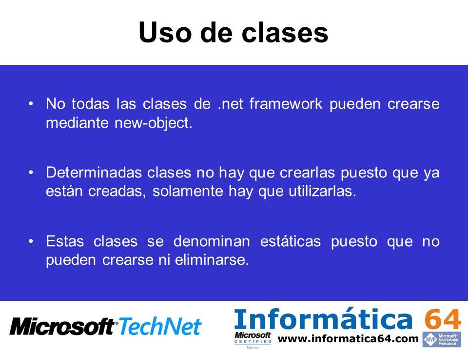 Uso de clases No todas las clases de .net framework pueden crearse mediante new-object.