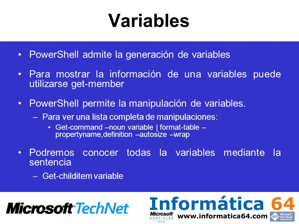 Variables PowerShell admite la generación de variables