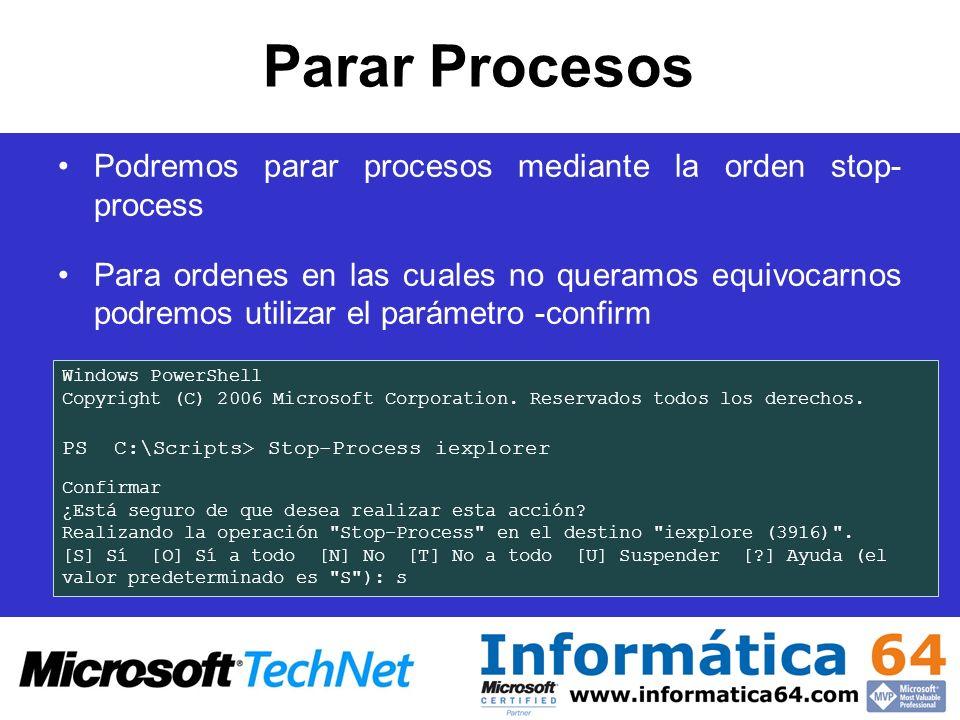 Parar Procesos Podremos parar procesos mediante la orden stop- process