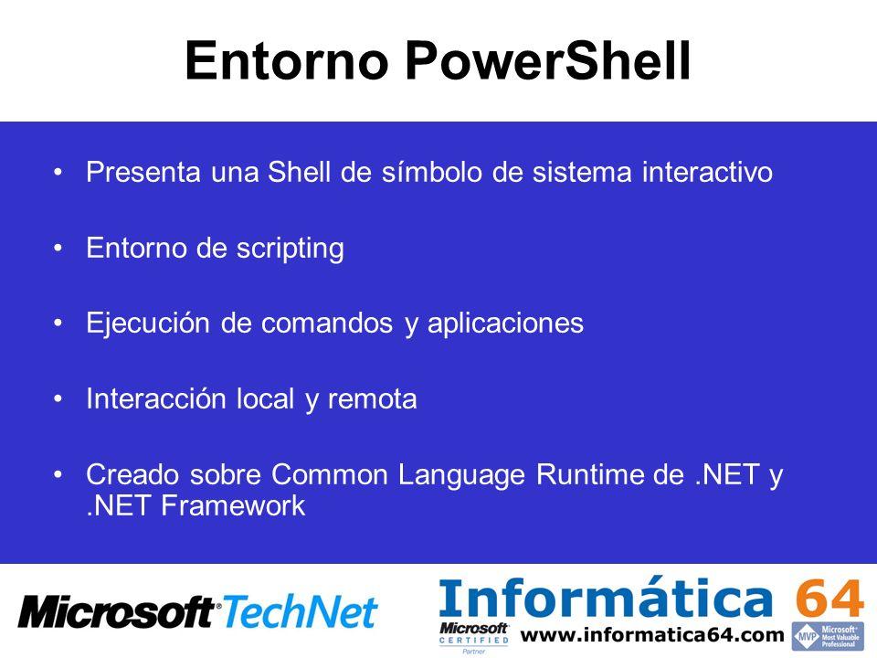 Entorno PowerShell Presenta una Shell de símbolo de sistema interactivo. Entorno de scripting. Ejecución de comandos y aplicaciones.