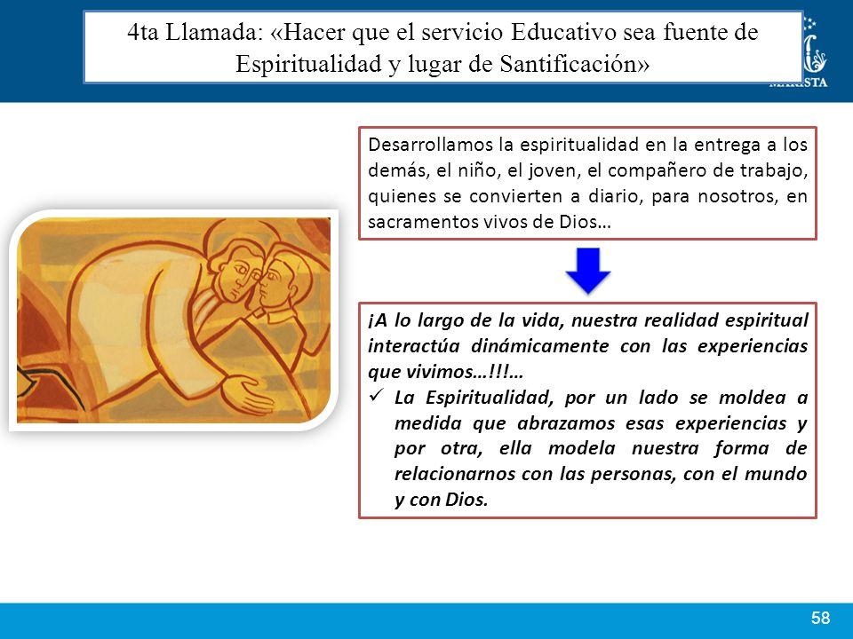4ta Llamada: «Hacer que el servicio Educativo sea fuente de Espiritualidad y lugar de Santificación»