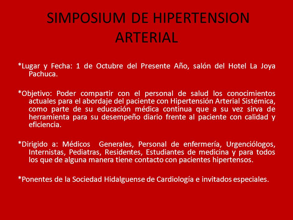 SIMPOSIUM DE HIPERTENSION ARTERIAL