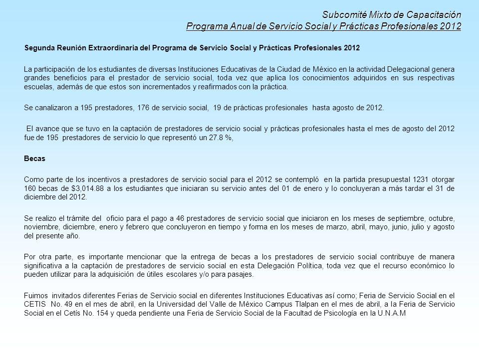 Subcomité Mixto de Capacitación Programa Anual de Servicio Social y Prácticas Profesionales 2012
