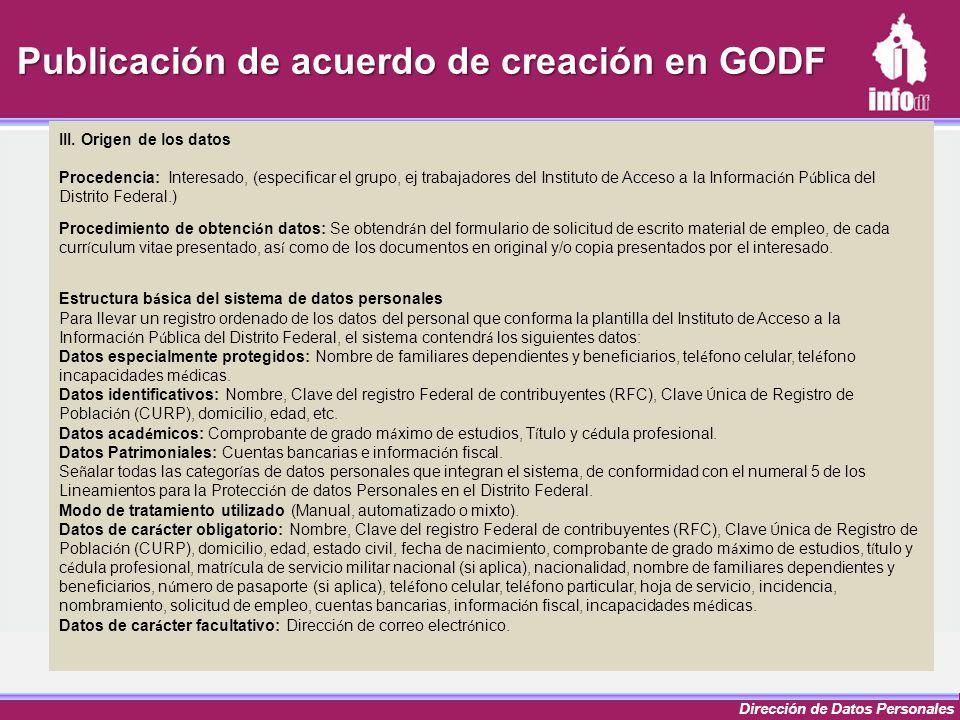 Publicación de acuerdo de creación en GODF