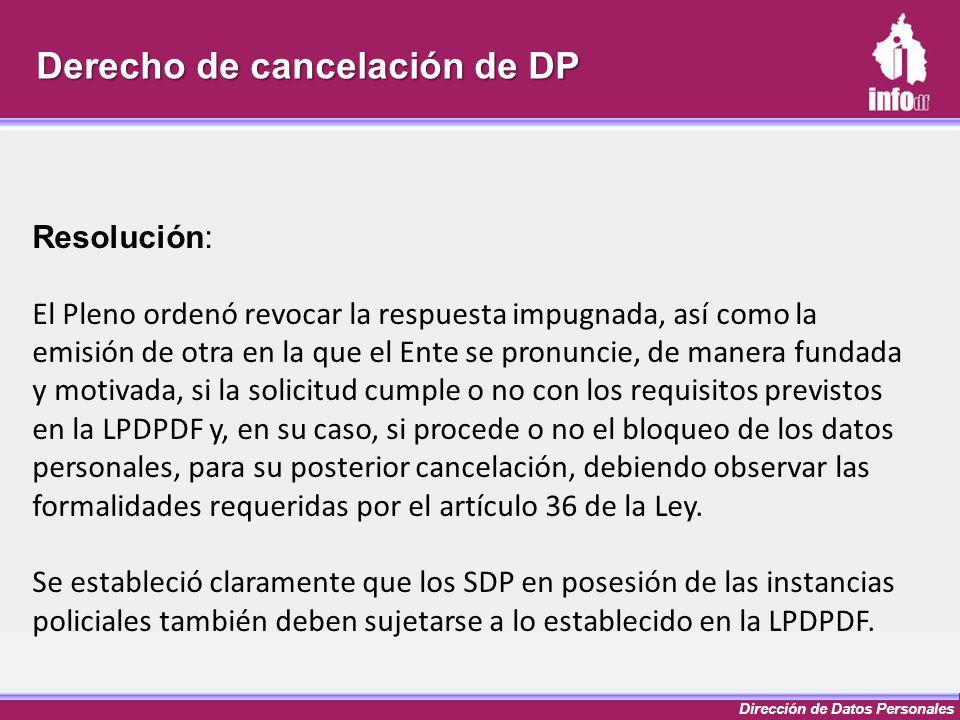 Derecho de cancelación de DP