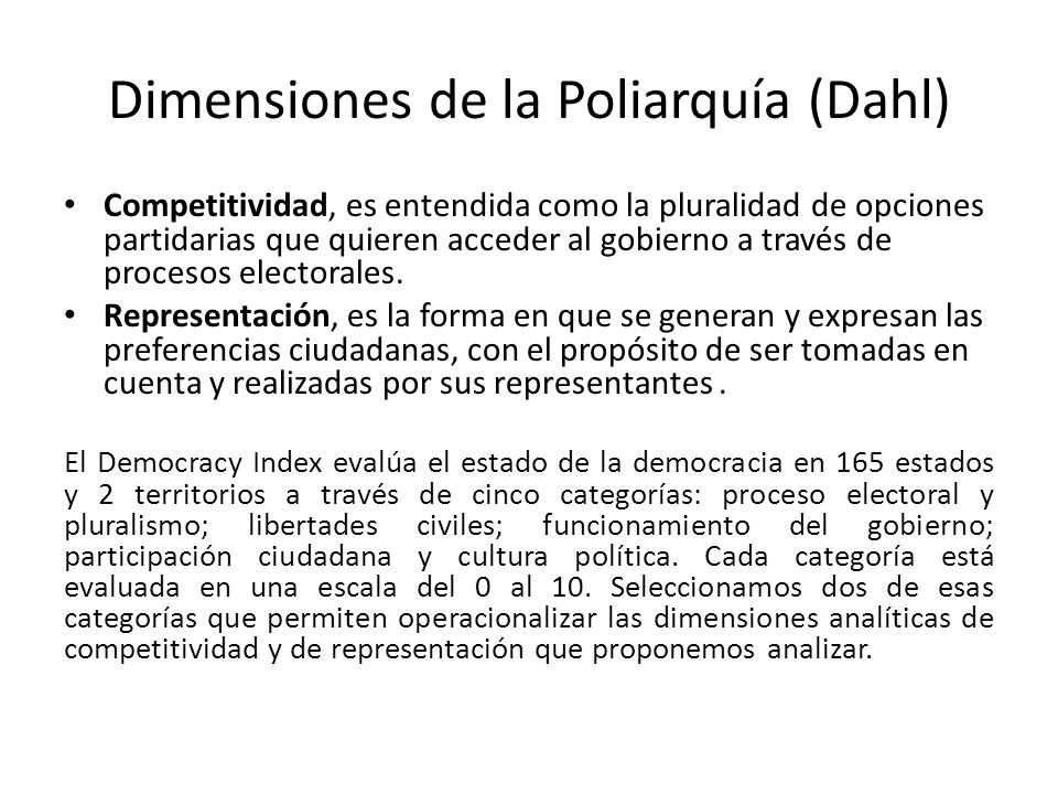 Dimensiones de la Poliarquía (Dahl)