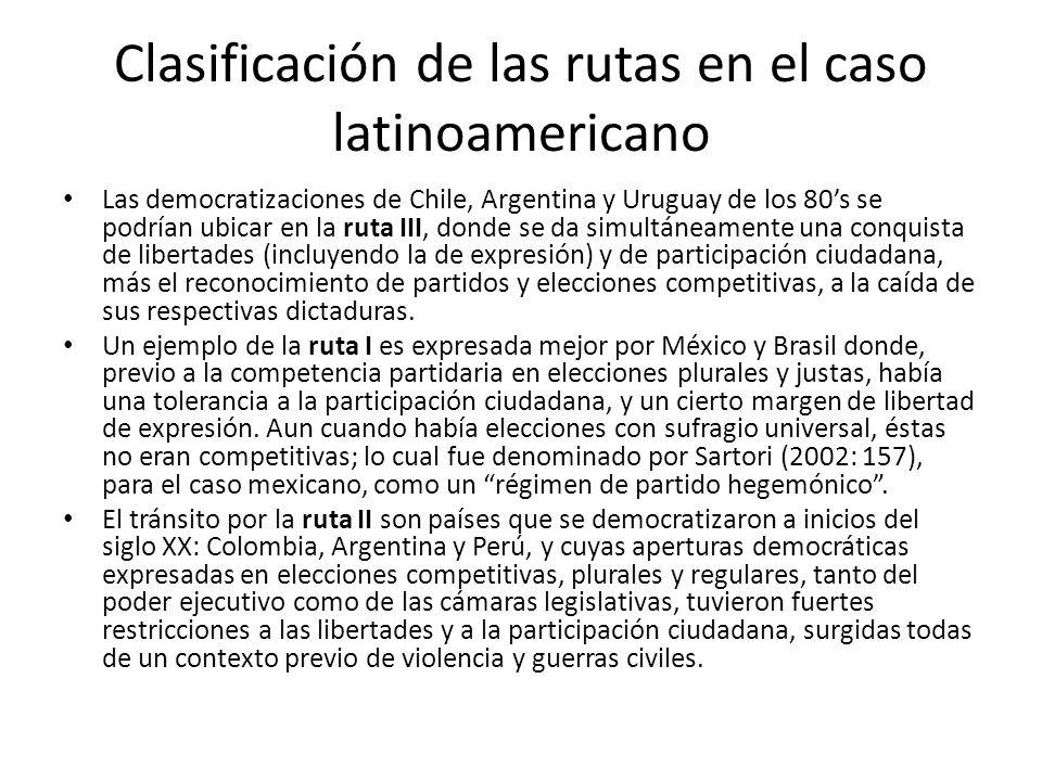 Clasificación de las rutas en el caso latinoamericano