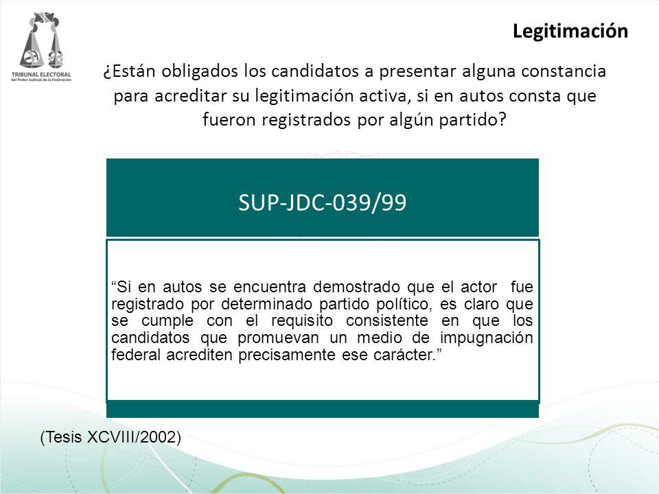 SUP-JDC-039/99 Legitimación