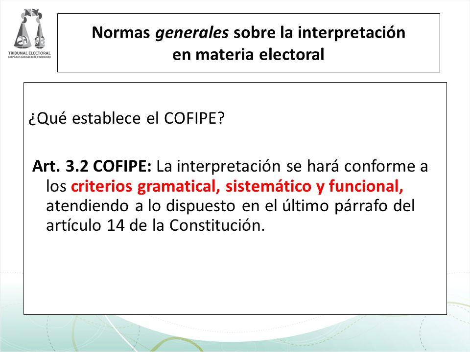 Normas generales sobre la interpretación en materia electoral