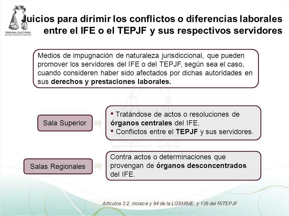 Juicios para dirimir los conflictos o diferencias laborales entre el IFE o el TEPJF y sus respectivos servidores