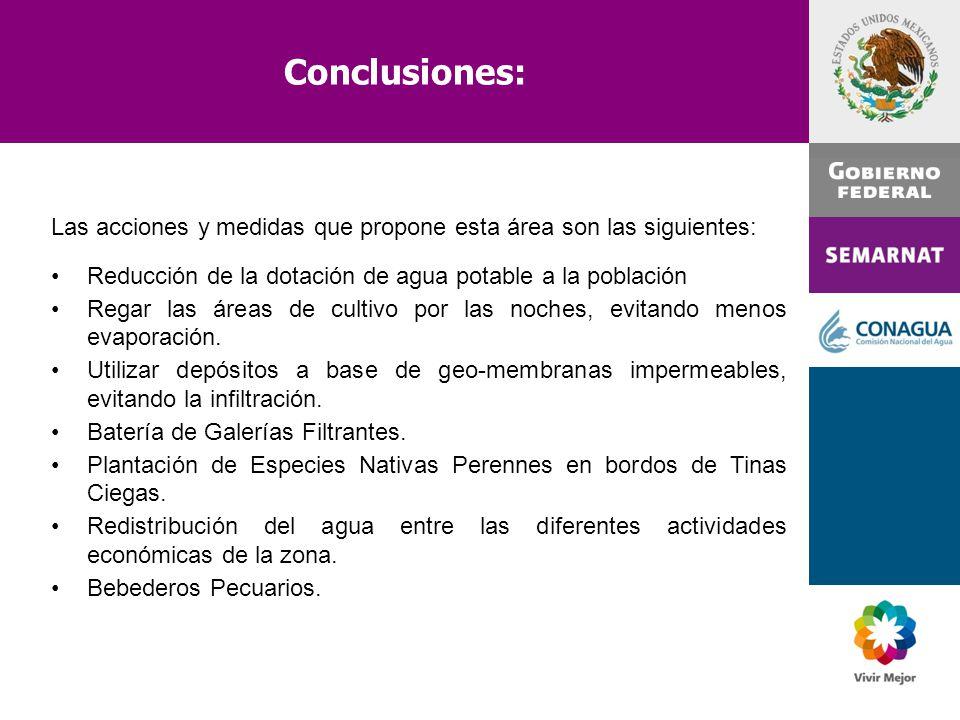 Conclusiones: Las acciones y medidas que propone esta área son las siguientes: Reducción de la dotación de agua potable a la población.