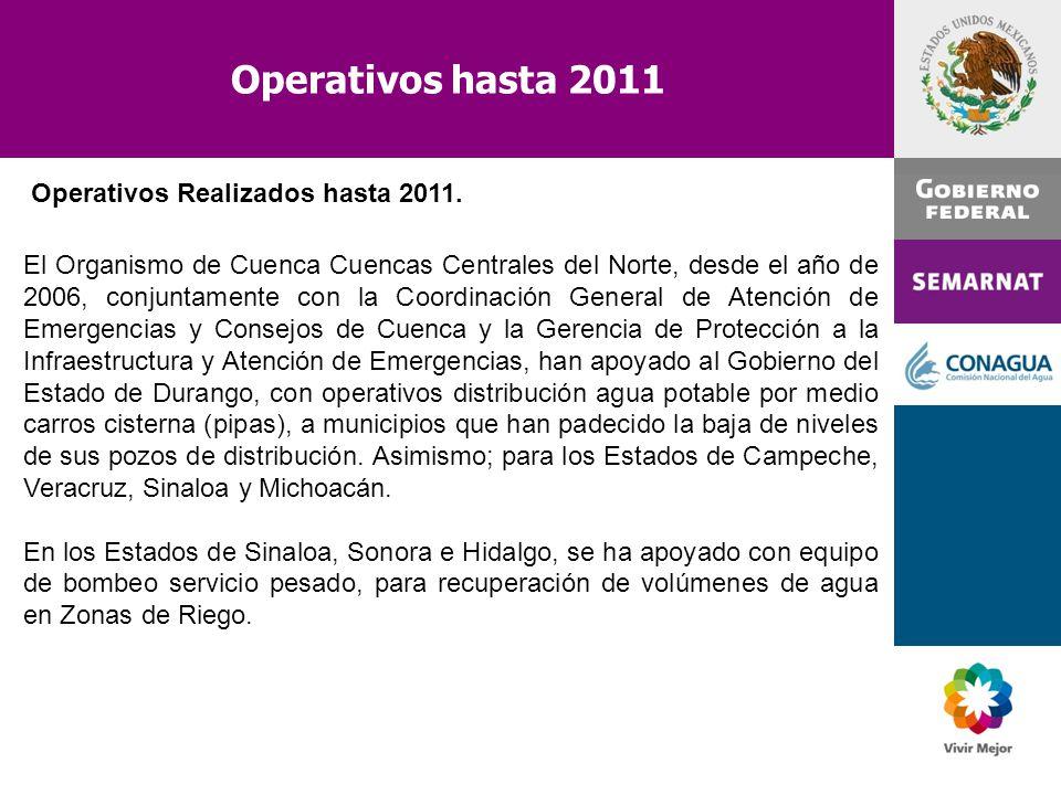 Operativos hasta 2011 Operativos Realizados hasta 2011.