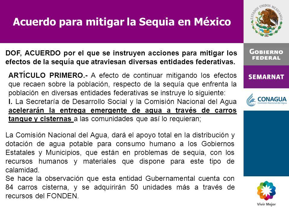 Acuerdo para mitigar la Sequia en México