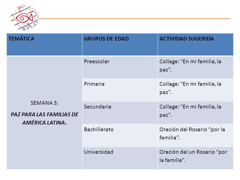 PAZ PARA LAS FAMILIAS DE AMÉRICA LATINA.