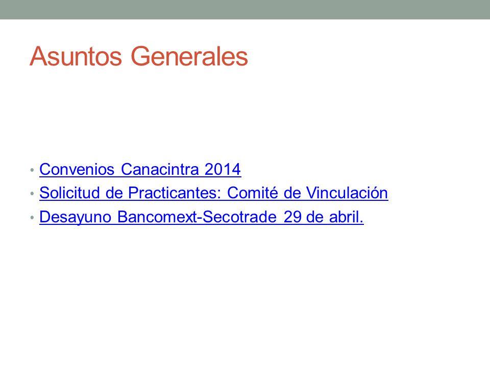 Asuntos Generales Convenios Canacintra 2014