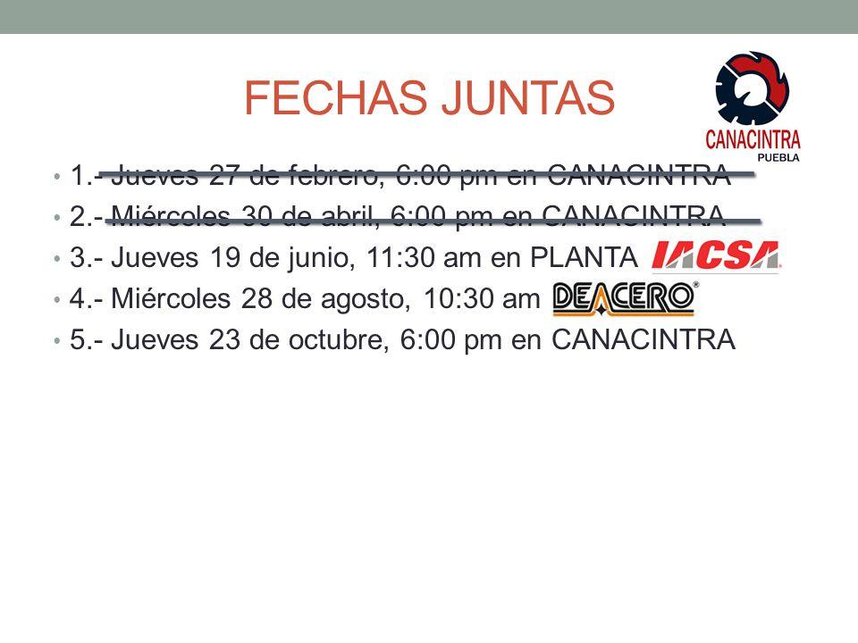 FECHAS JUNTAS 1.- Jueves 27 de febrero, 6:00 pm en CANACINTRA