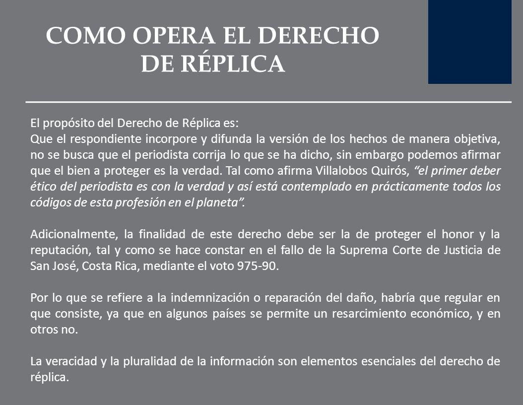 COMO OPERA EL DERECHO DE RÉPLICA
