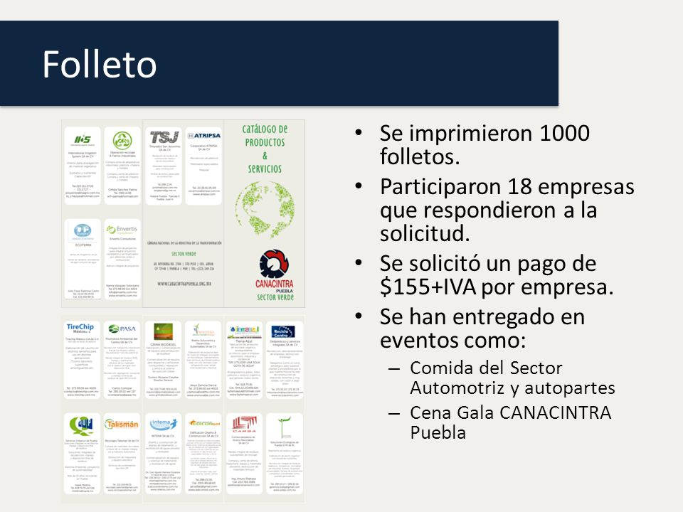 Folleto Se imprimieron 1000 folletos.