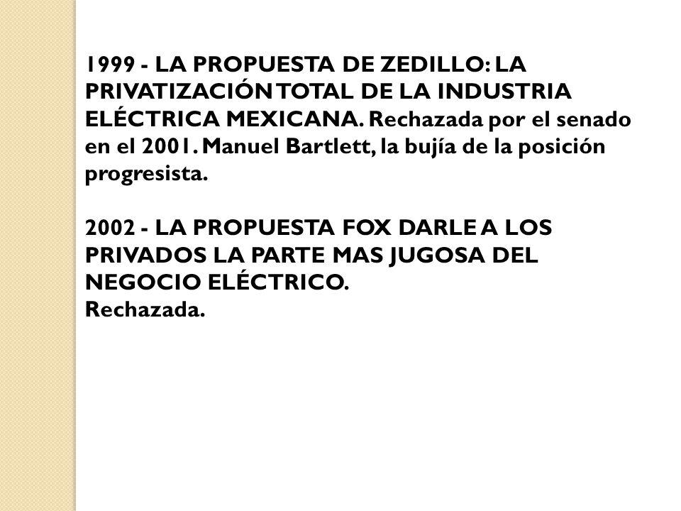 1999 - LA PROPUESTA DE ZEDILLO: LA PRIVATIZACIÓN TOTAL DE LA INDUSTRIA ELÉCTRICA MEXICANA. Rechazada por el senado en el 2001. Manuel Bartlett, la bujía de la posición progresista.
