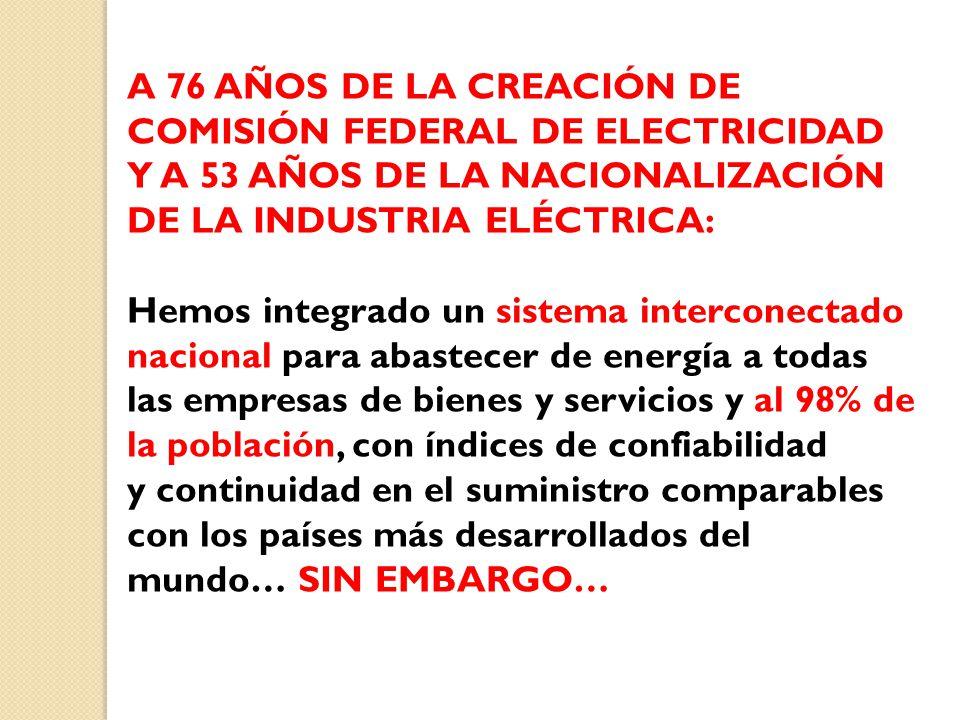 A 76 AÑOS DE LA CREACIÓN DE COMISIÓN FEDERAL DE ELECTRICIDAD Y A 53 AÑOS DE LA NACIONALIZACIÓN DE LA INDUSTRIA ELÉCTRICA: