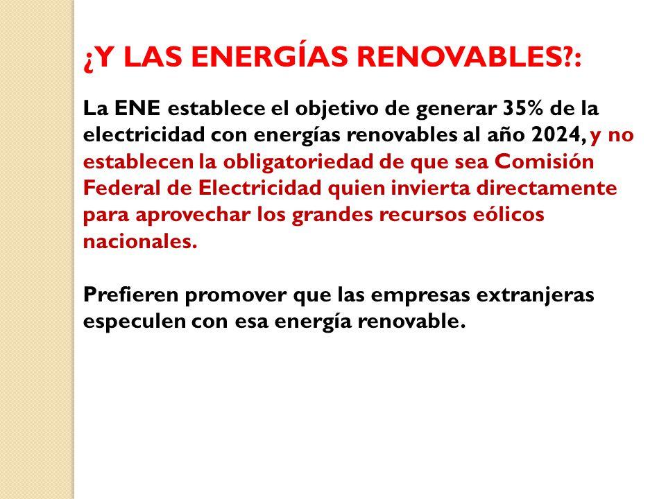 ¿Y LAS ENERGÍAS RENOVABLES :