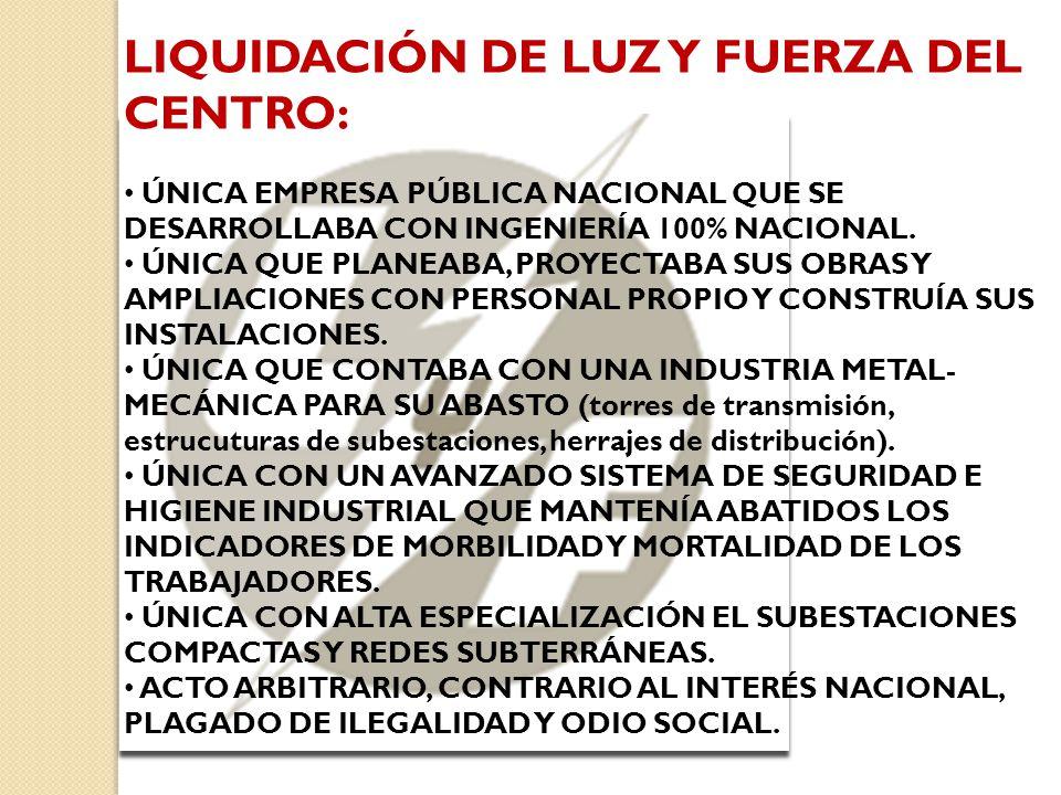LIQUIDACIÓN DE LUZ Y FUERZA DEL CENTRO: