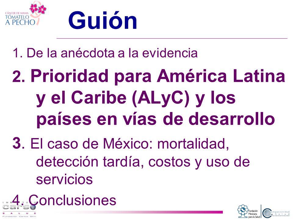 Guión 1. De la anécdota a la evidencia. 2. Prioridad para América Latina y el Caribe (ALyC) y los países en vías de desarrollo.