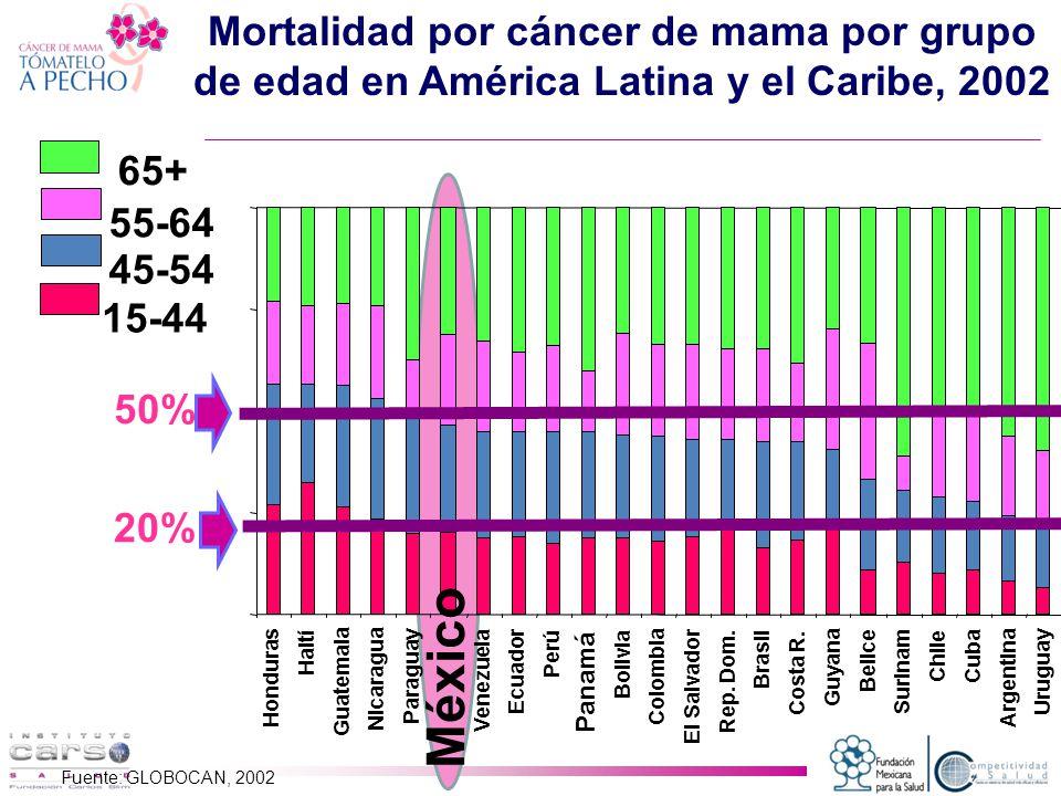 Mortalidad por cáncer de mama por grupo de edad en América Latina y el Caribe, 2002