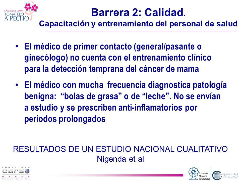 Barrera 2: Calidad. Capacitación y entrenamiento del personal de salud