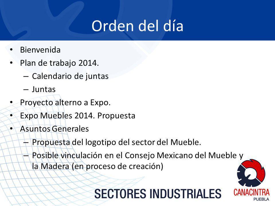 Orden del día Bienvenida Plan de trabajo 2014. Calendario de juntas
