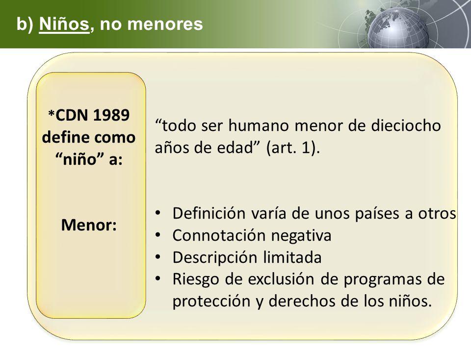 *CDN 1989 define como niño a: