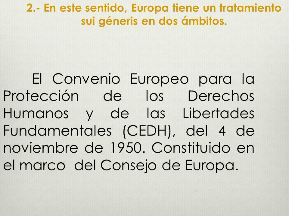 2.- En este sentido, Europa tiene un tratamiento sui géneris en dos ámbitos.