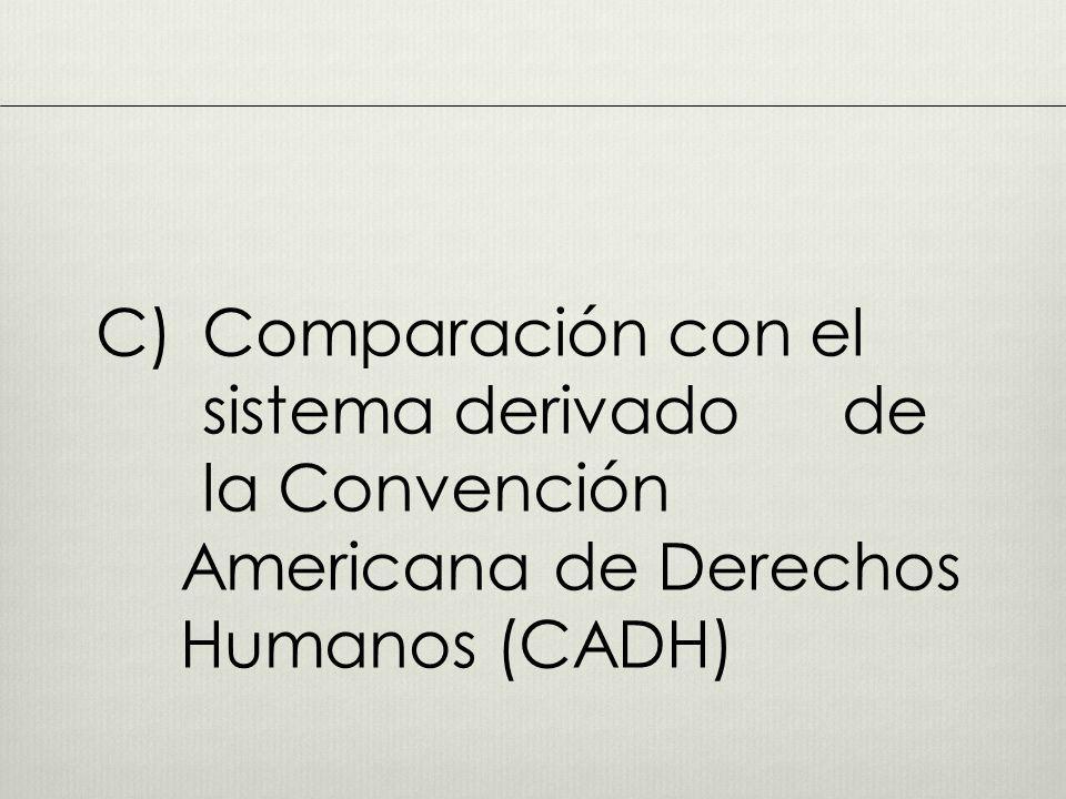 C). Comparación con el. sistema derivado. de