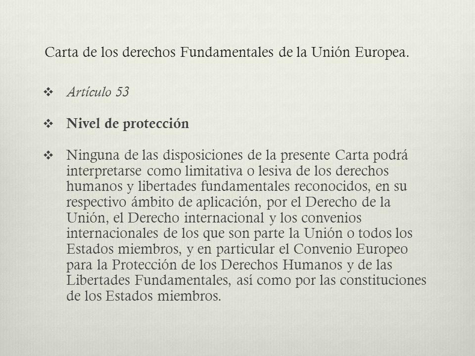 Carta de los derechos Fundamentales de la Unión Europea.