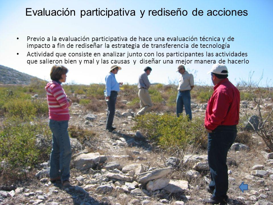 Evaluación participativa y rediseño de acciones