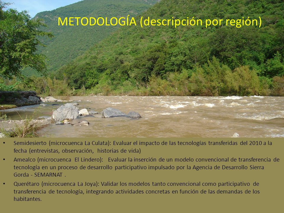 METODOLOGÍA (descripción por región)