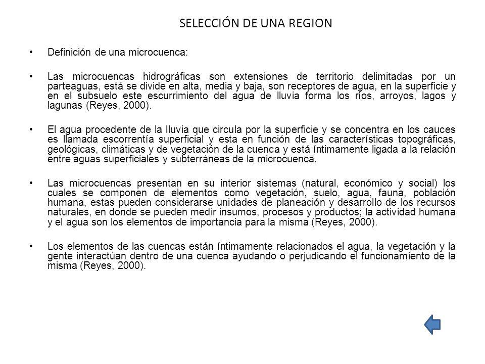 SELECCIÓN DE UNA REGION