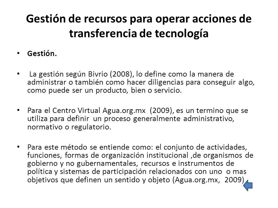 Gestión de recursos para operar acciones de transferencia de tecnología