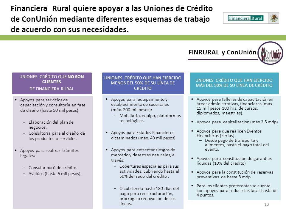 Financiera Rural quiere apoyar a las Uniones de Crédito de ConUnión mediante diferentes esquemas de trabajo de acuerdo con sus necesidades.