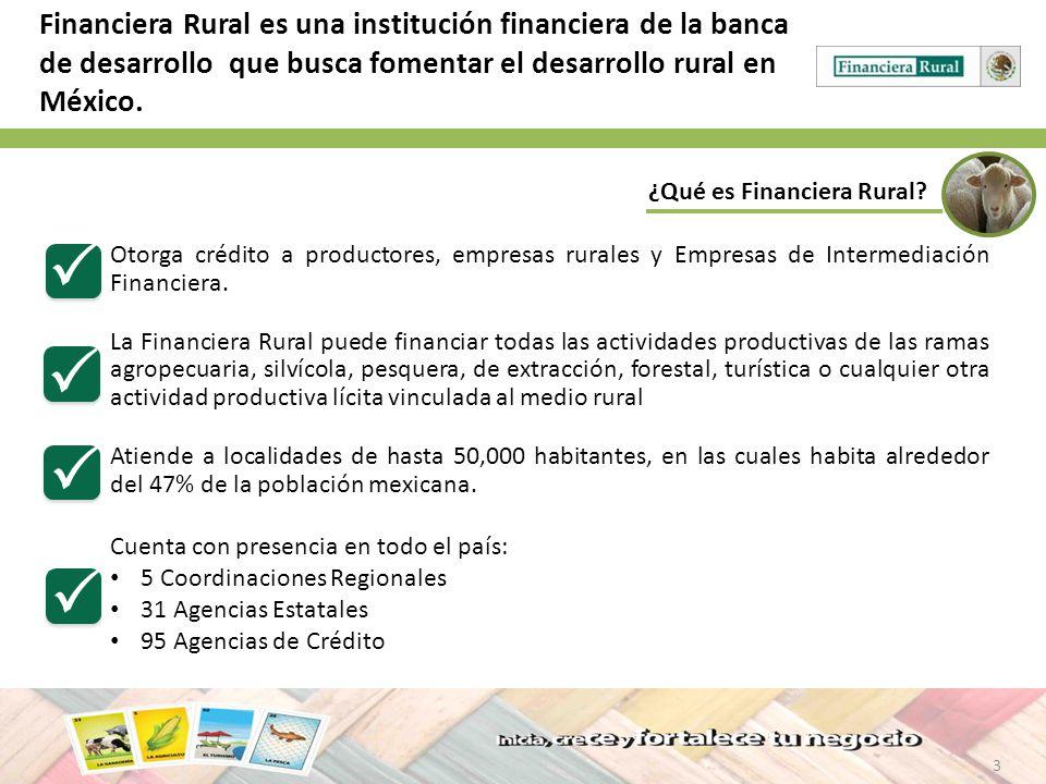 Financiera Rural es una institución financiera de la banca de desarrollo que busca fomentar el desarrollo rural en México.